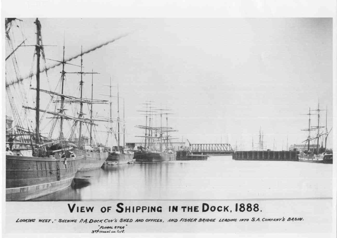 Port and harbour scene showing shipping in the dock