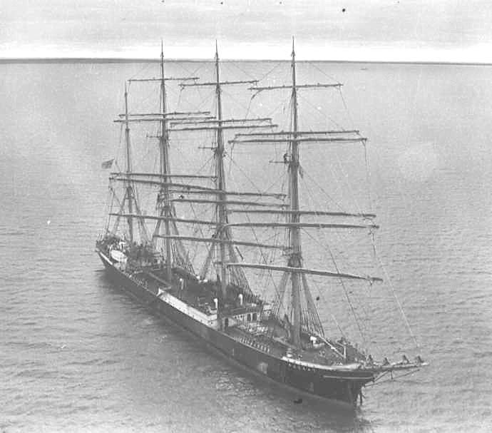 """This image shows """"Passat"""" at anchor near Port Victoria"""""""
