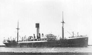 1913 Passenger vessel under way.