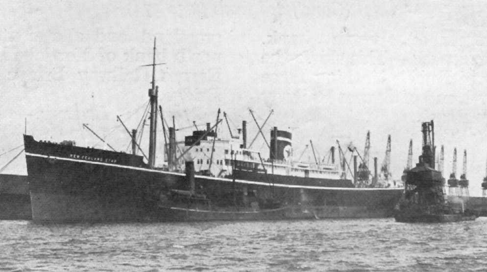 1935 refrigerated cargo vessel under tow.