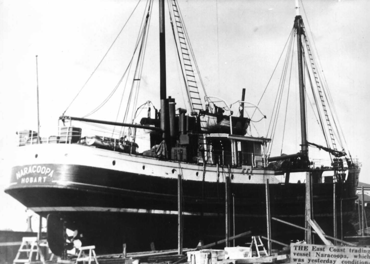 """M.V. """"Naracoopa"""", an auxilliary ketch built in 1940 by EA Jack at Launceston.  She was employed in the Bass Strait and Tasmania from 1940 - 1968 owned by the Transport Commission (Govt of Tasmania).  She sank in South Australia. Tonnage:  297 gross, 198"""