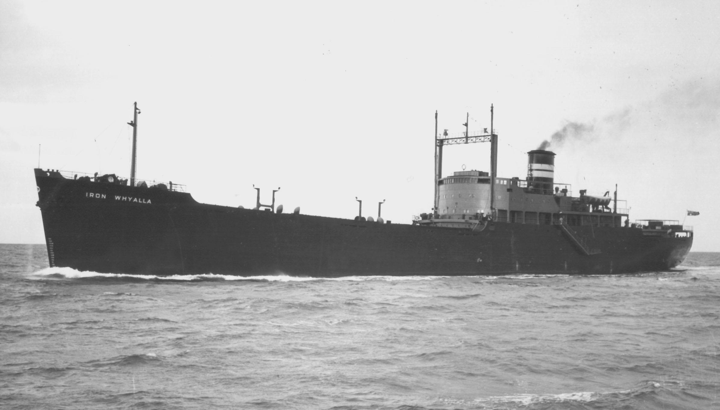 """General Cargo vessel """"Iron Whyalla"""".  Built in Whyalla in 1954, employed in stell trades, and owned by Broken Hill Pty Co Ltd. Official Number:  177245 Dimensions:  length 489'0"""", breadth 62'1"""", draught 25'91/4"""" Port Of Registry:  Melbourne Flag:  Bri"""