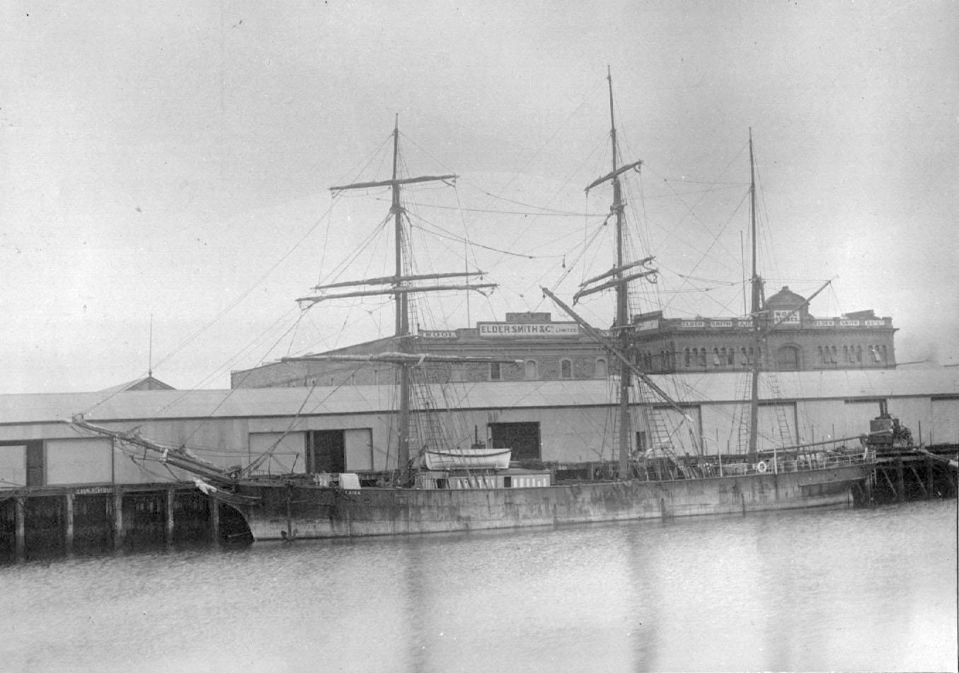 """Iron Barque, """"Laira"""", built in 1870 at Sunderland.  She was first registered in Plymouth and seems to have arrived in Australasia when her registration was transferred to Auckland in 1882.  On 2 April 1898 when she was owned in Dunedin, she was in a colli"""