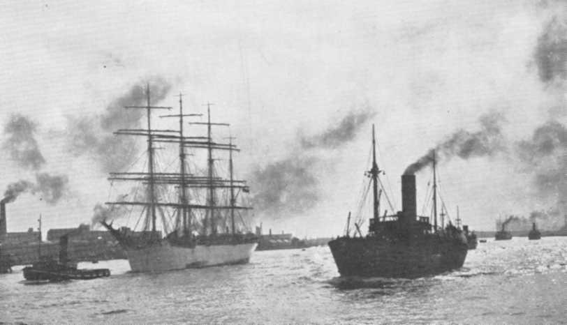 1907 Barque leaving London for Nystad after discharging her cargo of Australian grain in Milwall Dock which she reached 120 days out from Australia