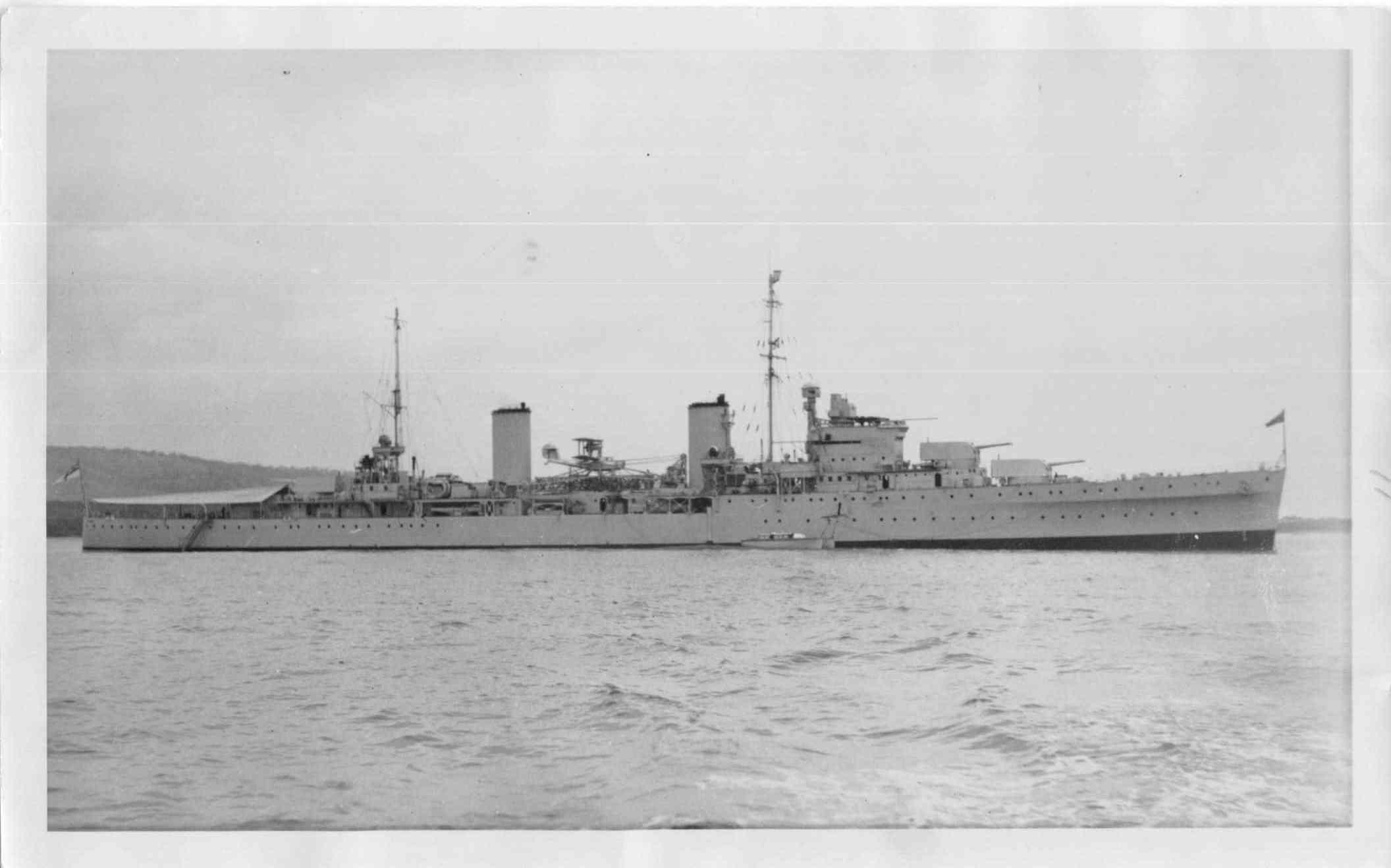 """H.M.A.S. """"Sydney"""", a Leander Class Light Cruiser, built by Swan Hunter  at Wallsend-on-Tyne, between 1933 and 1935.  Originally ordered for the Royal Nay, she was bought by the Australian government before launching.  During World war 2 while serving in t"""