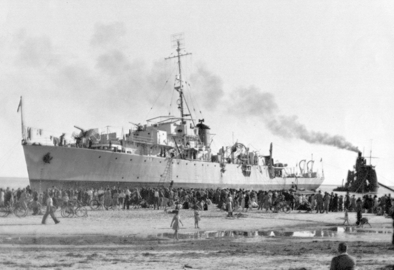 1944 naval vessel aground at West Beach
