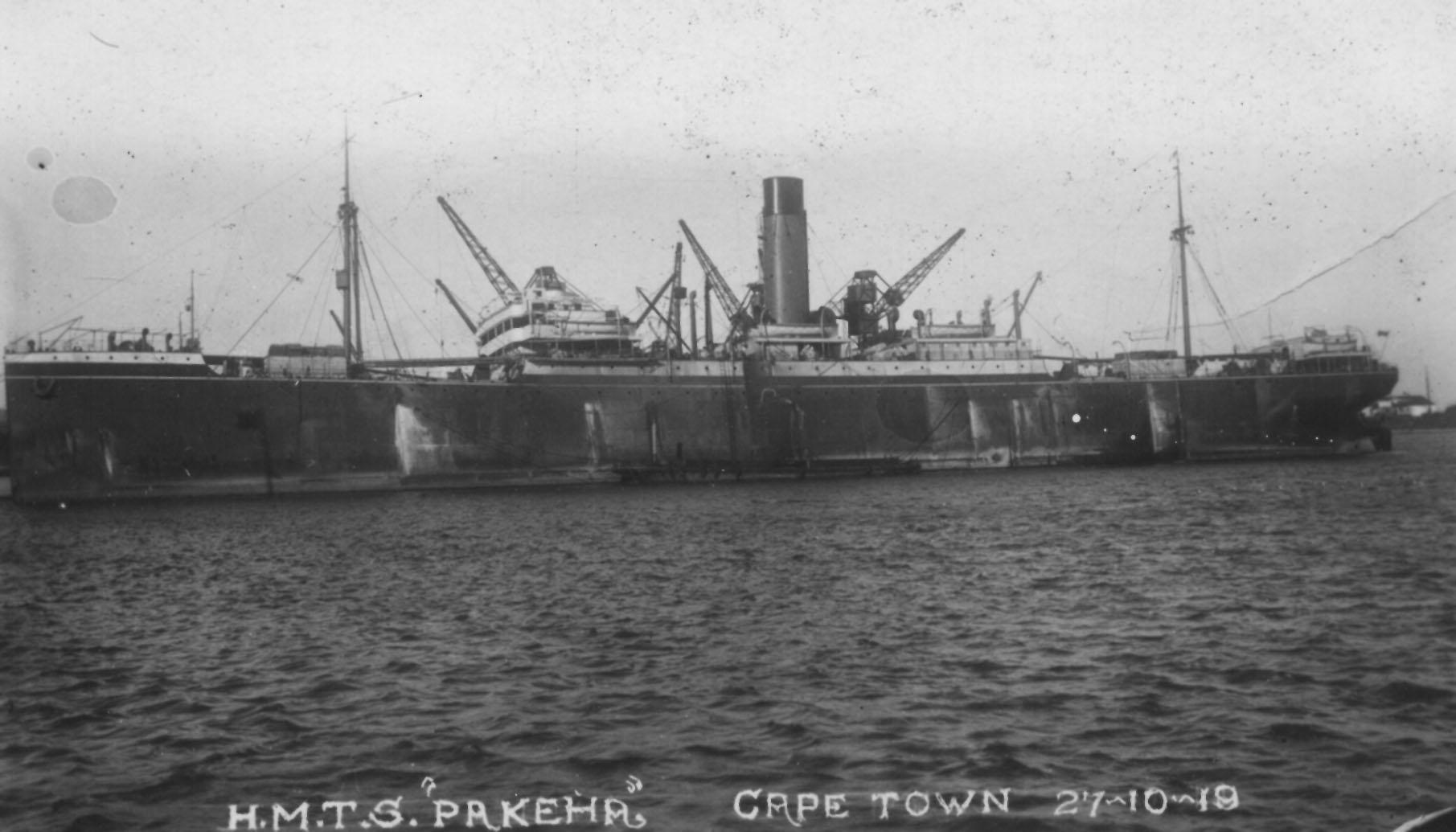 """Passenger Liner """"Pakeha"""", built in 1910 by Harland & Wolff - Belfast.  Owned By Shaw, Savill & Albion Co Ltd. Official Number:  131759 Tonnage:  7899 gross, 5055 net Dimensions:  length 477'5"""", breadth 63'1"""", draught 31'3"""" Port Of Registry:  Southampt"""