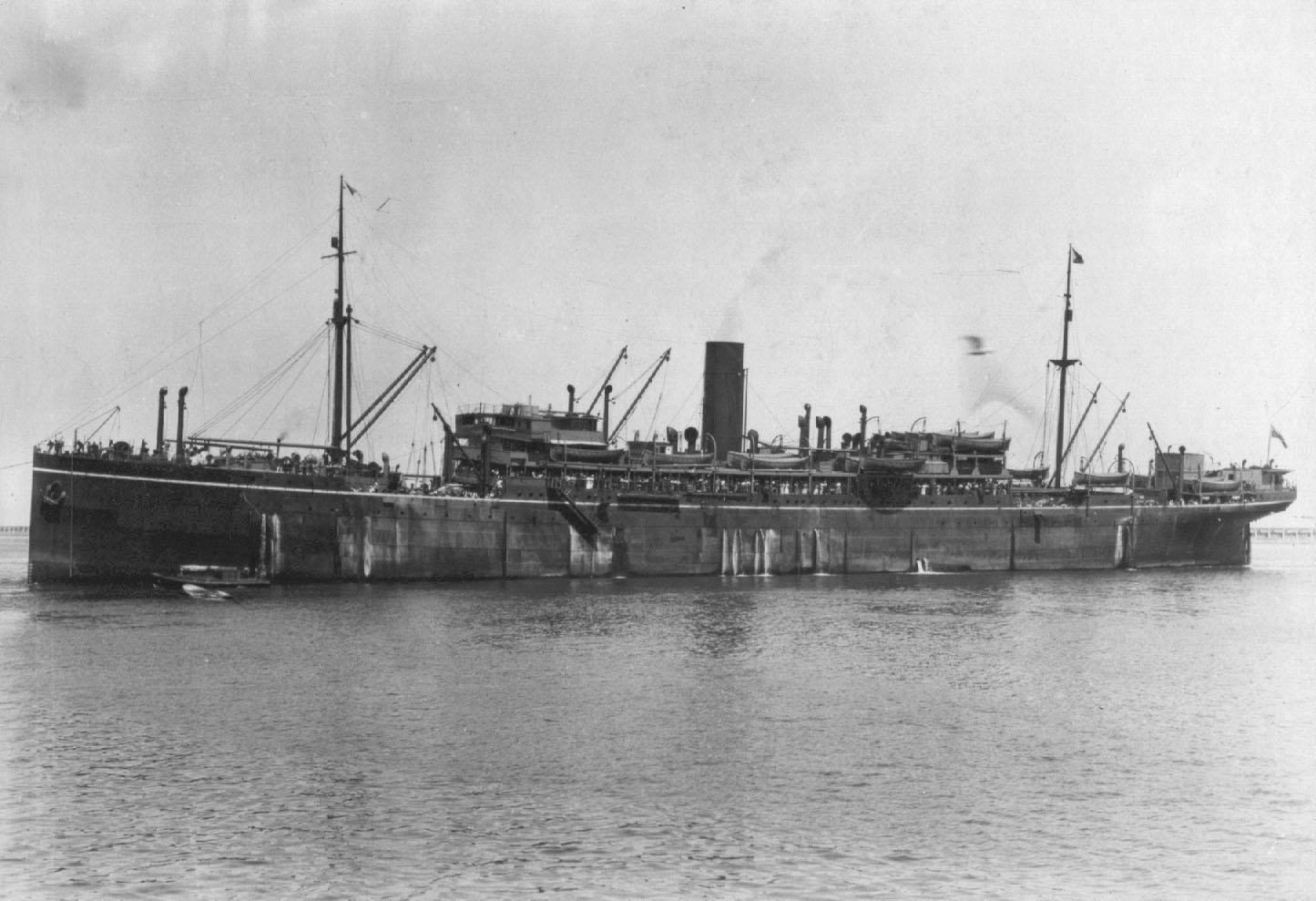 """Passenger vessel """"Beltana"""", built in 1912 by Caird & Co, Greenock, Scotland. Base Port:  London Tonnage:  11120 gross Dimensions:  length 515', breadth 63', draught 28' Motive Power:  Quadruple expansion engines (9000 IHP) Screws:  twin Service Spee"""