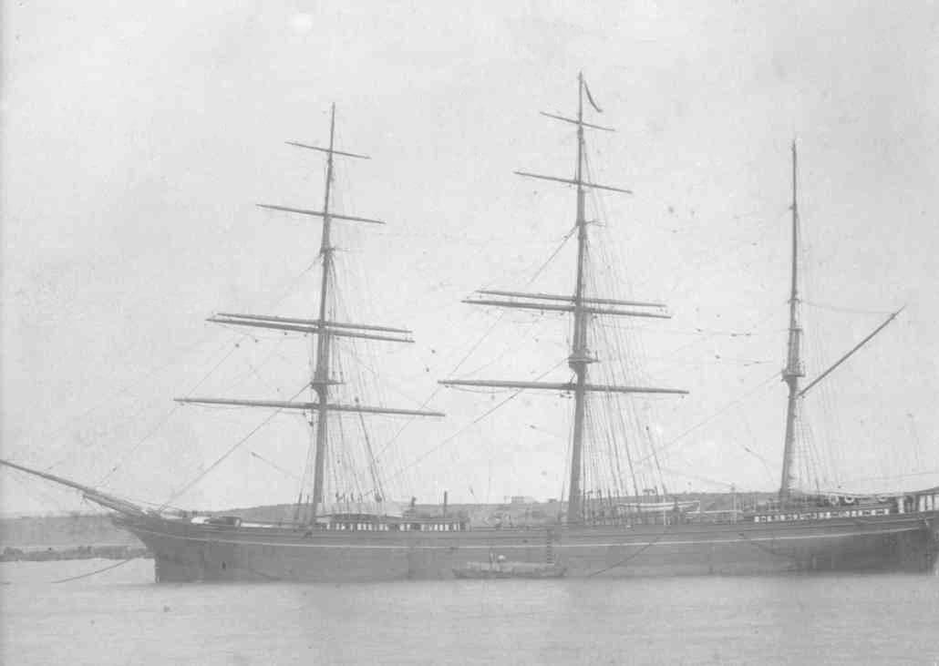 """Iron Barque """"Kooringa"""", built in 1874 at south Shields by Softley & Co.  Owned by Trinder, Anderson & Co. Official Number:  70636 Tonnage:  1206 gross, 1175 net Dimensions;  length 226'0"""", breadth 35'2"""", draught 21'6"""" Port Of Registry:  London"""
