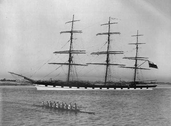 """Iron Ship """"Mermerus"""", built in 1872 by Barclay, Curle & Co - Glasgow, owned by A & J.H. Carmichael & Co. Tonnage:  1750 gross, 1671 net Official Number:  67904 Dimensions:  length 264'2"""", breadth 39'8"""", draught 23'7"""" Port Of Registry:  Greenock Flag:"""