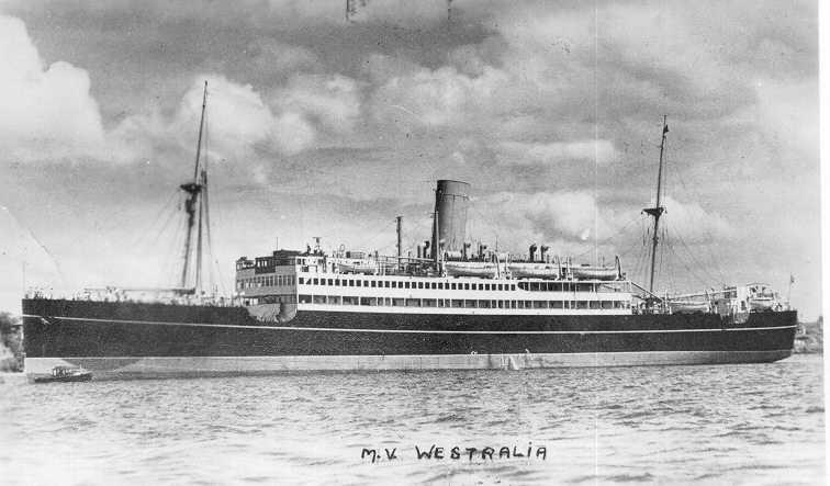 """Passenger Vessel """"M.V. Westralia"""", built in 1929 by Harland & Wolff - Belfast.  A twin screw motorship, she took her first voyage from Sydney, Melbourne, Adelaide-Fremantle on 28 September 1929.  This vessel was commissioned as an armed merchant cruiser i"""