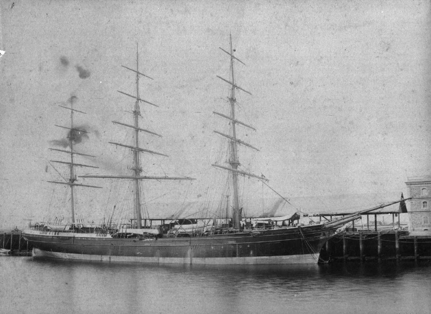 1875 clipper, moored at Port Adelaide..