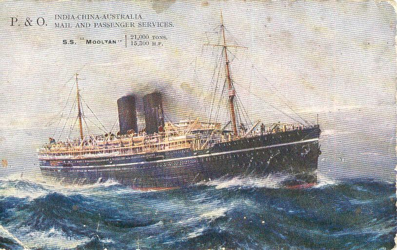 """Passenger Vessel """"Mooltan"""", launched on 15 - 2 - 1923 and completed in September 1923.  Built by Harland 7 wolff Ltd, Belfast, Northern Ireland.  She took her maiden voyage on 21 December 1923 from London to Sydney. Base port:  London Gross Tonnage:  In"""
