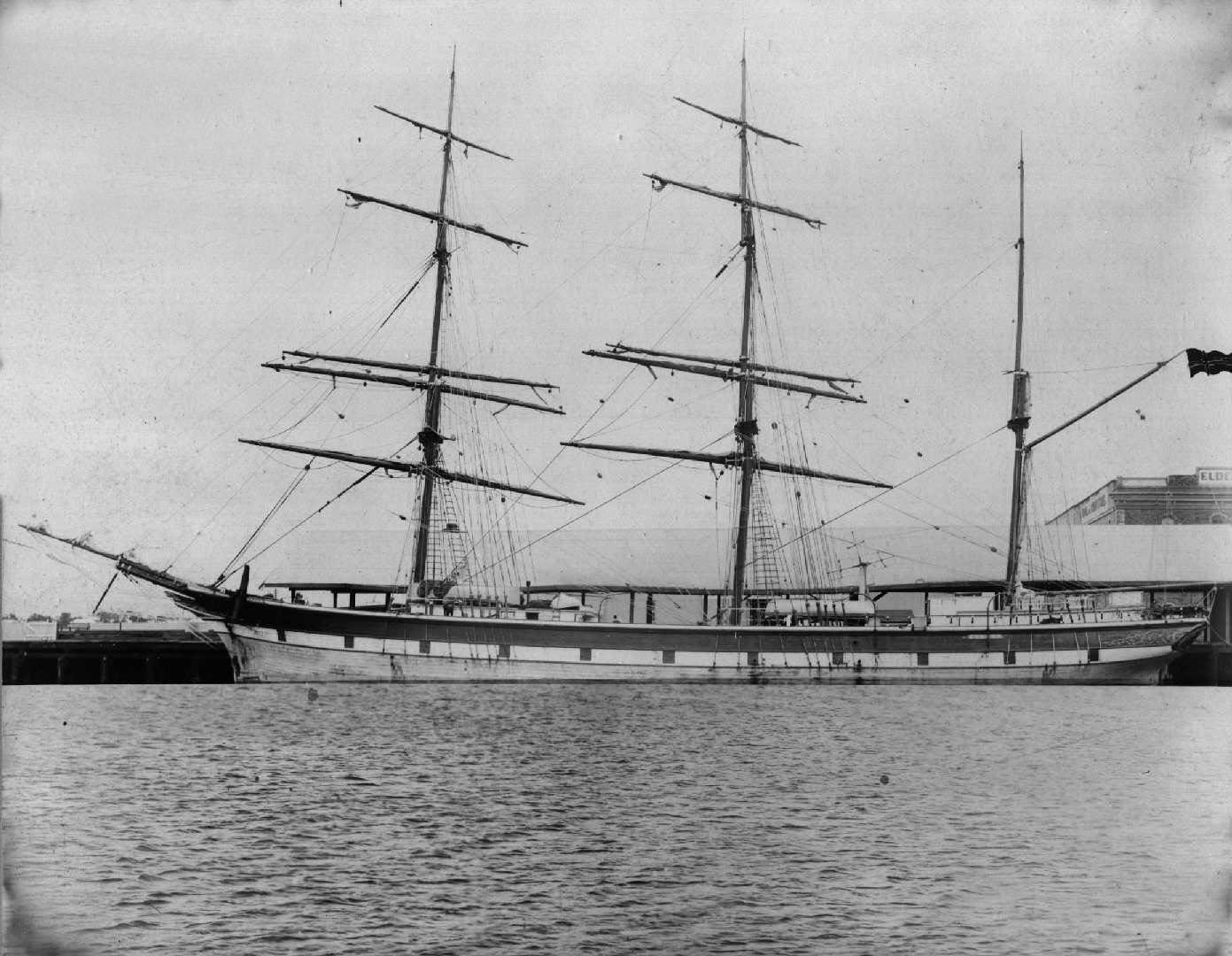 """3 masted Barque """"Queen"""", built in 1891 at Grimsted, Norway.  Tonnage:  855 gross Dimensions:  length 181' , breadth 34', draught 20'"""