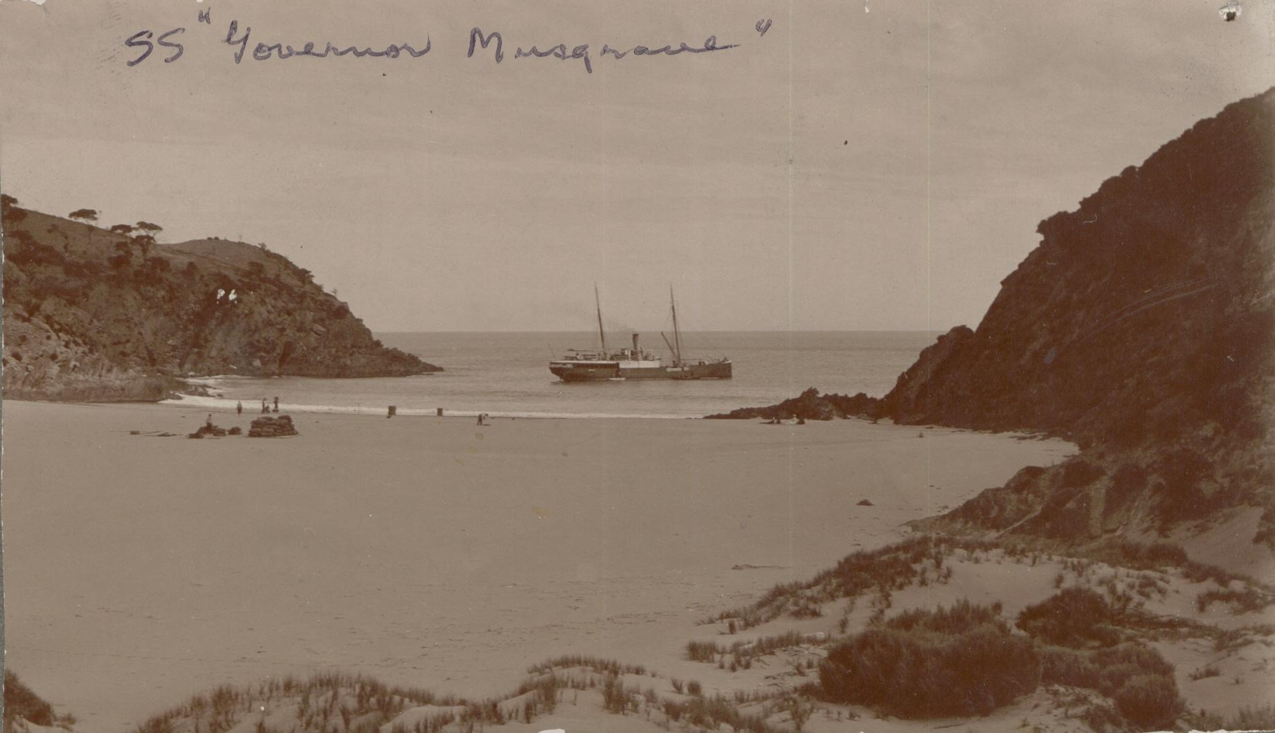 """Steamship """"Governor musgrave"""", built in 1874 by Mort's Dock & Engineering Co for the Marine Board of SA.  For many years this vessel was employed for all kinds of coastal service; repairs to jetties, investigating and attending wrecks, delivering stores t"""