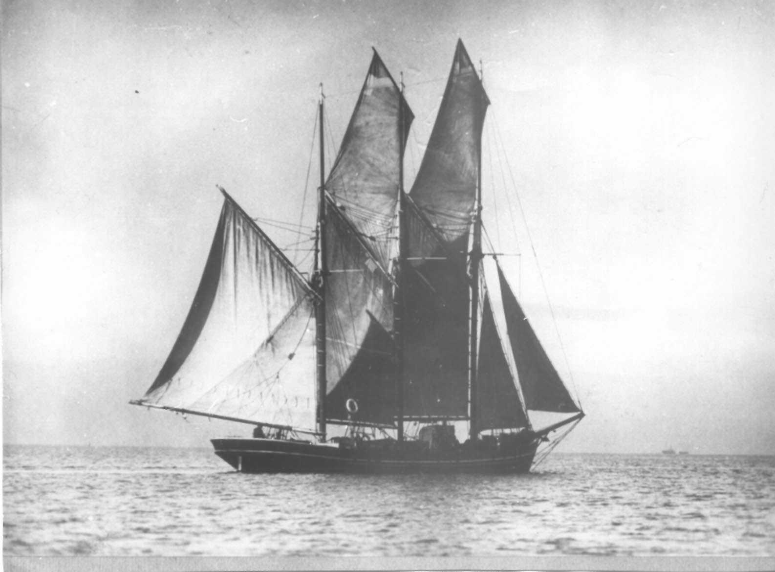 """""""Leillateah"""" is described in R Parsons' """"Ketches of Australia"""" as a Ketch of 43 gross ton, built in 1891.  In 1908 it capsized off Recherche Bay, and was later registered in Melbourne in 1912.  It was bought by Messrs. GT & CG Heritage in Adelaide in the"""
