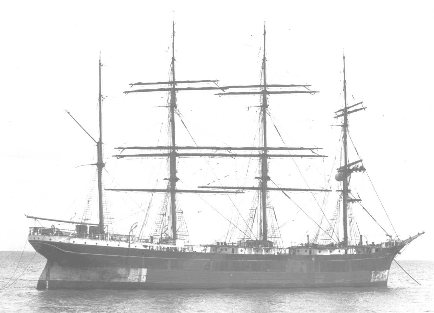 1891 barque, at anchor.