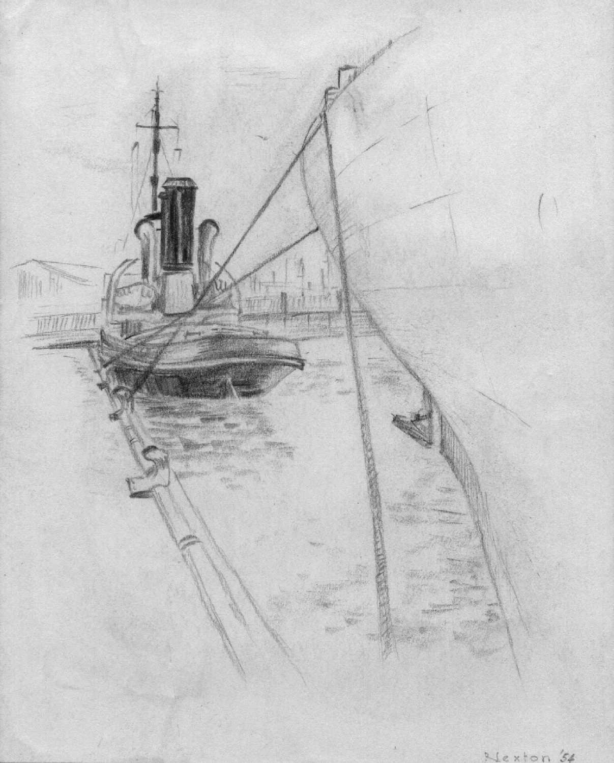 Drawing by Bob Sexton of the 1915 tug.