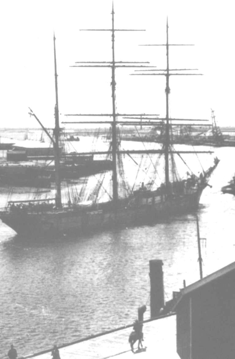 Barque moored in Port Adelaide