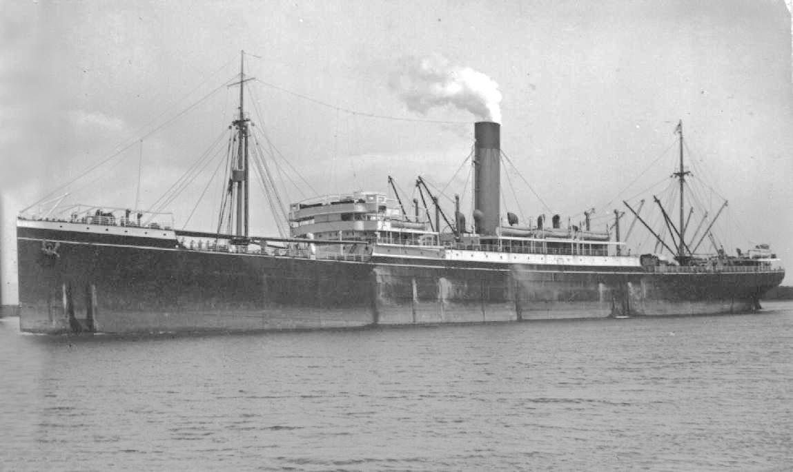 1910 passenger vessel under way