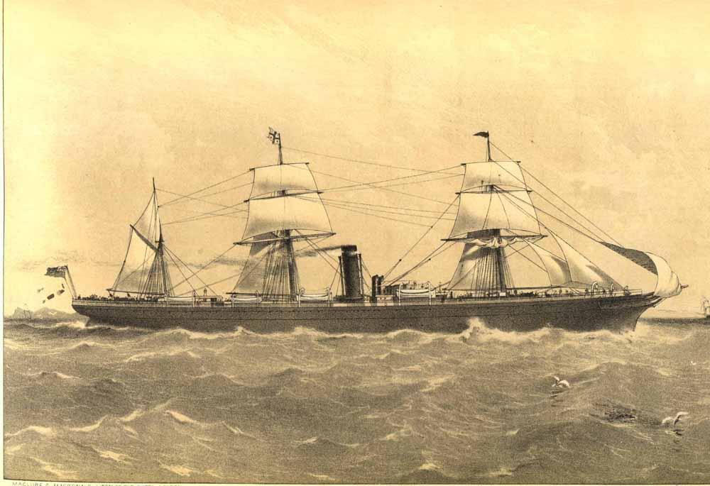 Image: Sailing ship, Engraving (lithograph)