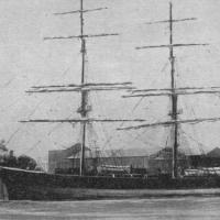 1881 Barque.  This vessel as she appeared soon after her 1881 launch and after the great 1903 storm when she was wrecked in Algoa Bay, South Africa