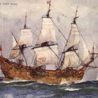 Naval vessel under sail