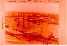 Naval vessels berthed