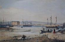 A French ship captured by the custom house officers at Port Adelaide for illicit trading.