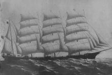 """Steel 4 masted Barque """"Norma"""", built in 1893 by Barclay, Curle & Co Ltd.  Owned by MacVicar Marshall & Co.  This vessel sank after a collision with """"Ardencraig"""" on 21 - 4 - 1907, 5km west of Semaphore with 31,000 bags of wheat. Dimensions:  length 278'0"""""""