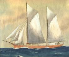 """Wooden 2 masted Ketch, built in 1900 by Hans C Christensen, Bermagui, NSW.  An auxilliary motor was fitted in May 1922, making her have a bhp of 45 and a speed of 5.5 knots.  """"Harold"""" was registered in Port Adelaide in September 1919 by A LeMessurier & Pa"""