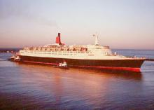 """Passenger Liner """"Queen Elizabeth 2"""", built in 1969 by Upper Clyde Shipbuilders Clydebank DIV - Clydebank.  Owned by Cunard Line Ltd.  This liner was the first which was built to combine the tasks of Transatlantic passenger service and holiday cruise ship."""