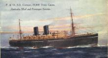 """Passenger vessel """"S.S. Cathay"""", launched on 31 October 1924 by Countess Of Inchcape, and completed in March 1925.  Built by Barclay, Curle & Co, Glasgow, Scotland, she took her maiden voyage on 27 March 1925 from London - Sydney. Base port:  London Gros"""