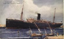 """Passenger Liner """"S.S. Kalyan"""", built in 1915, owned by P & O Steam NavigationCo Ltd.  """"Kalyan"""" made her first appearance in Southern waters when she left London on 22 december 1922 for a single round trip. Tonnage:  9144 gross Dimensions:  length 480',"""