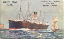 """Passenger Vessel """"S.S. Persic"""", owned by White Star Line.  A Twin Screw Steamer of 12,042 tons.  This image shows vessel arriving at Sydney.  (painted illustration)"""