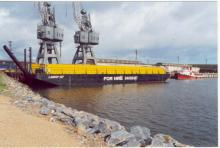 With hire barge at Port Adelaide, June 2001