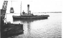 """Tug """"Morglay"""",a single screw steam ship, built in 1921 by Bow McLauhlan & Co - Paisley.  Built as No 394 and in 1922 she was registered at Southampton by Southampton, Isle Of Wight & South Of England R.M.S.P. Co.  In March 1926 she was registered at Port"""