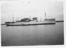 """Passenger Vessel """"Esquilino"""", built in 1925 by Cant. San Rocco S.A. - San Rocco, owned by Lloyd Triestino. Tonnage:  8657 gross, 5355 net Dimensions:  length 450'0"""", breadth 57'2"""", draught 32'4"""" Port Of registry:  Trieste Flag:  Italian  In this ima"""