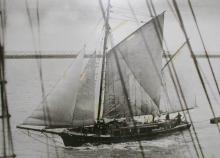 """""""Ketches of South Australia"""" by R Parsons describes """"Hawthorn"""" as a wooden 2 masted ketch, formerly of Hobart, with 1 deck & round stern.  Built in 1875 in Franklin, Huon River, Tasmania, she was registered in Port Adelaide in Feb. 1876 by G. Foulis.  Own"""