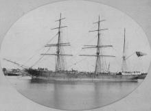 """Iron barque """"Cardigan Castle"""", built in 1870 at Liverpool by R & J Evans, owned by L Davies & Co. Official Number:  63296 Tonnage:  1214 gross Dimensions:  length 228'0"""", breadth 35'7"""", draught 21'6"""""""
