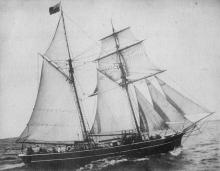 """A wooden 2 masted Schooner """"Eclipse"""", built in 1864.  Refer - """"Ketches of South Australia"""" by R Parsons"""
