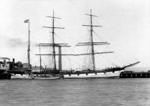 """Barque """"Marco Polo"""", built in 1892 at Grangemouth by Grangemouth Dockyard Co. Tonnage:  1646 gross Dimensions:  length 248', breadth 38', draught 28'"""