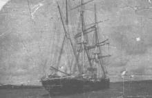 """The Liverpool Barque """"Lalla Rookh"""", which arrived at Falmouth after all hope of her safety had been abandoned.  She was 199 days comng from Brisbane.  An Iron Barque of 814 gross ton, built in 1876 by R & J Evans & Co.  Official  Number - 74542.  Owned by"""