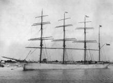 """Steel 4 masted Barque, """"Samaritan"""", buyilt in 1891 at Glasgow by R Duncan & Co for Mac Vicar, Marshall & Co. Official Number:  97871 Dimensions:  length 282', breadth 42', draught 25' Port Of Registry:  Liverpool"""