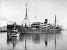 "Passenger vessel ""Cap Verde"", built in 1900 at Flensburg by Flensburg Shipbuilding Co for Hamburg South America Steamship Co. Tonnage:  5909 gross Dimensions:  length 410', breadth 48', draught 29' Port Of Registry:  Hamburg"