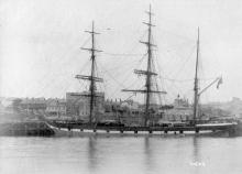 """Barque """"Shenir"""", built in 1876 at Glasgow by A Stephen & sons. Official Number:  3686 Tonnage:  1229 gross Dimensions:  length 226', breadth 35', draught 21' Captain:  Capt. Shepherd"""