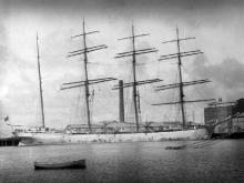 """Steel 4 masted Barque """"John Ena"""", built in 1892 at Glasgow by R. Duncan & Co for San Fransisco Shipping Line. Tonnage:  2842 gross Dimensions:  length 313', breadth 48', draught 25' Port Of Registry:  Honolulu"""