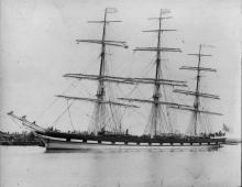 """Three masted Barque """"Thessalus"""", built in 1874 at Glasgow by Barclay, Curle & Co.  Owned by A & J.H. Carmichael & Co. Official Nmbner:  67941 Tonnage:  1782 gross Dimensions:  length 269', breadth 41', draught 24' Port Of Registry:  Greenock"""