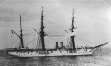 """""""H.I.M.S Carola"""", built at Stettin, & Completed in 1881.  Vessel was converted to a Gunnery Training ship in 1893.  Rigged as a Barque, she had two funnels between fore & main masts with steam pipes before; a Clipper bow; topgallant forecastle; two bridge"""