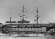 """Three masted Steel Barque """"Bonovento"""" of Larvik.  Built in 1892 at Arendal. Tonnage:  1341 gross, 1271 net Dimensions:  length 229'9"""", breadth 37'0"""", draught 20'6"""" Captain:  O Pedersen in 1899."""